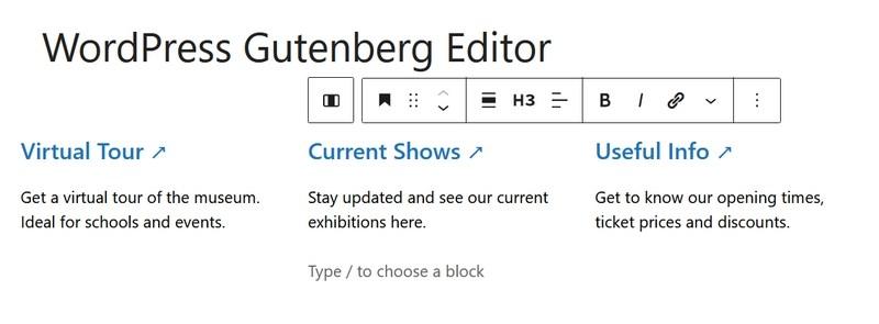 Editing blocks in columns