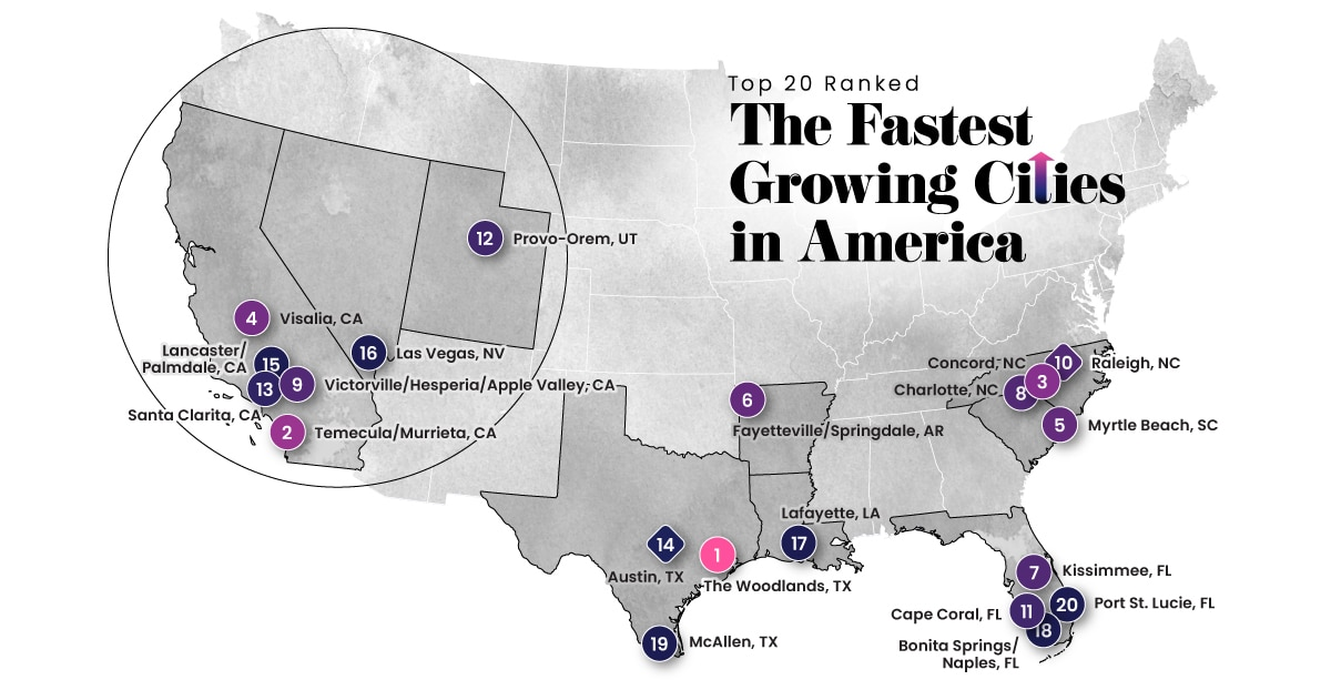 Ranked: The Fastest Growing Cities in the U.S.