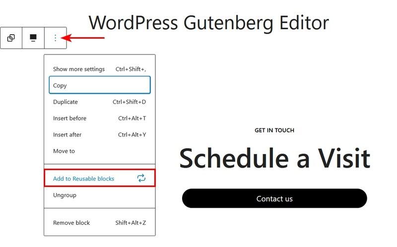 Gutenberg Add to reusable blocks