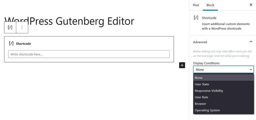 Gutenberg Shortcode block and settings