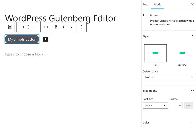 Gutenberg button and settings