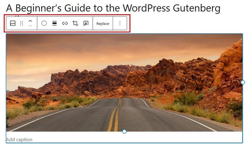 Gutenberg image block settings 2