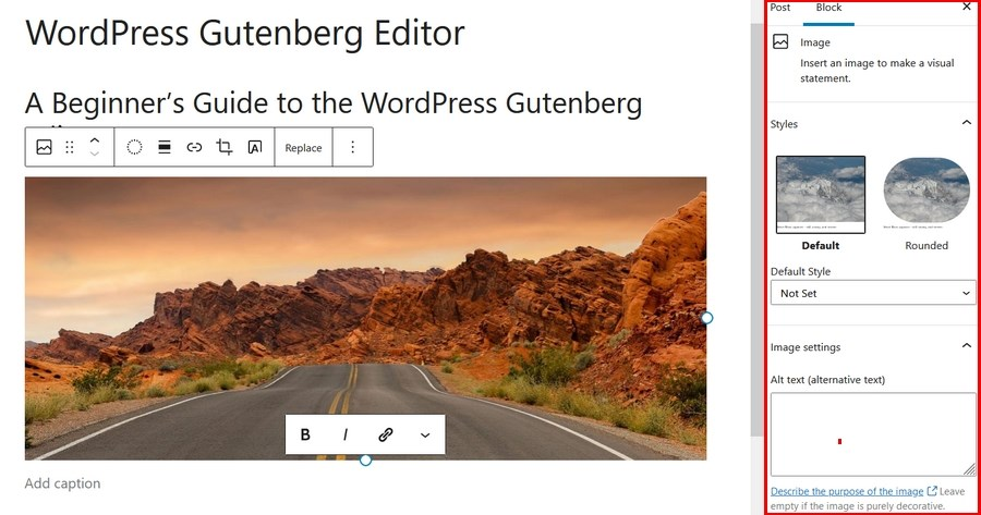 Gutenberg image block settings