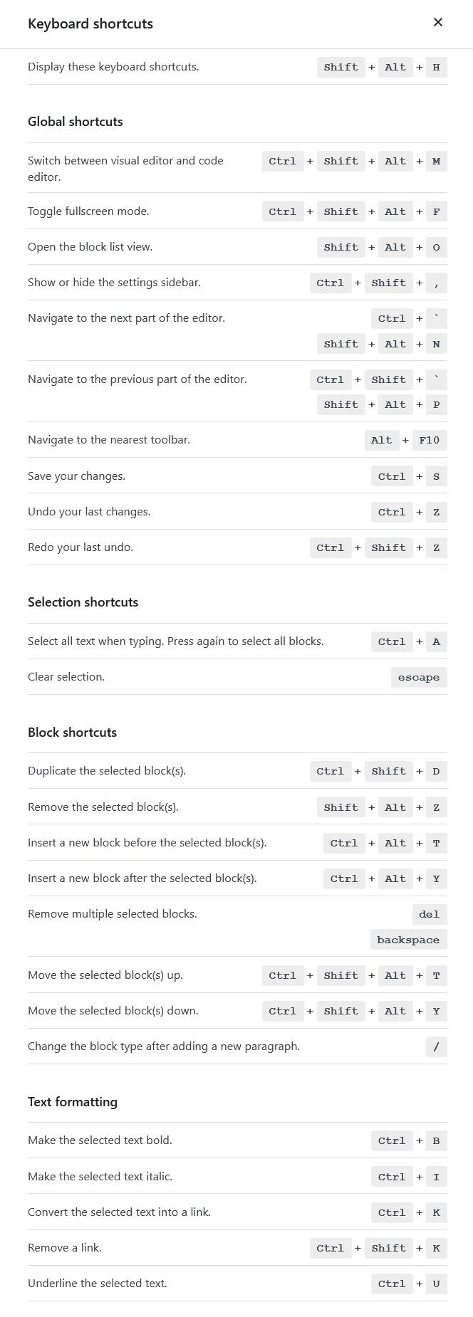 Gutenberg keyboard shortcode
