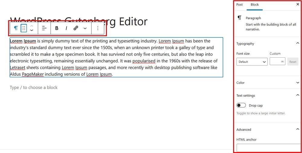 Gutenberg paragraph settings