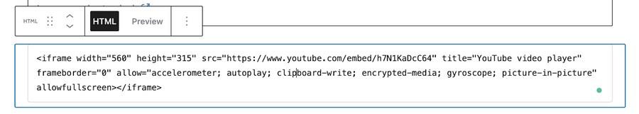 Insert HTML code in Gutenberg