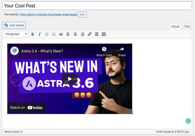 Inserted video on WordPress classic editor