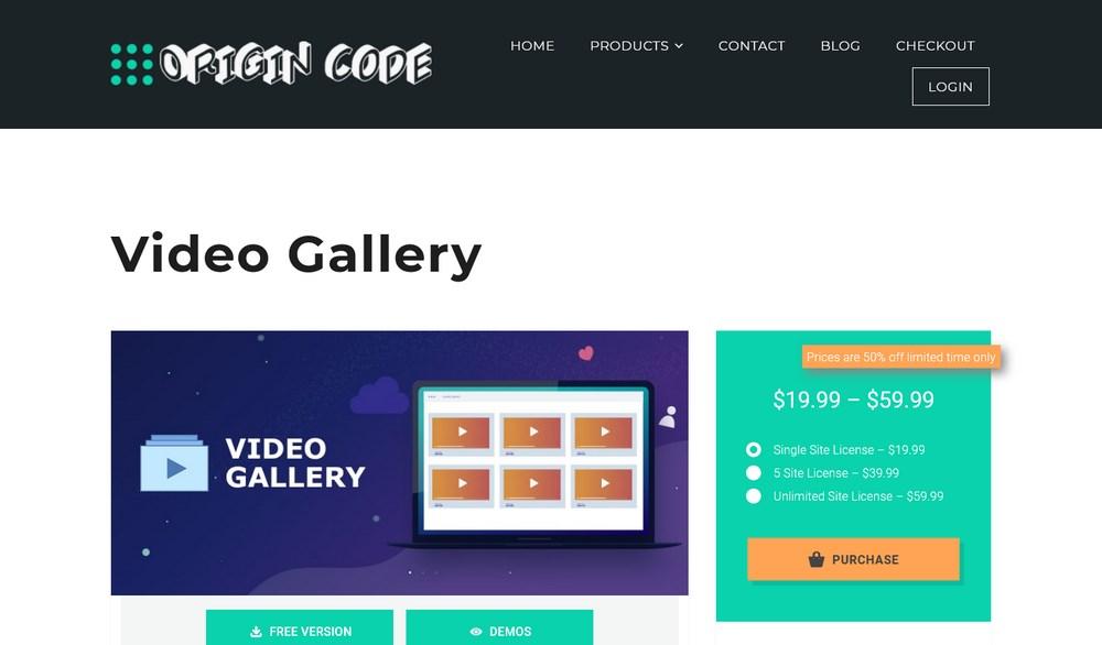 Origin Code Video Gallery plugin