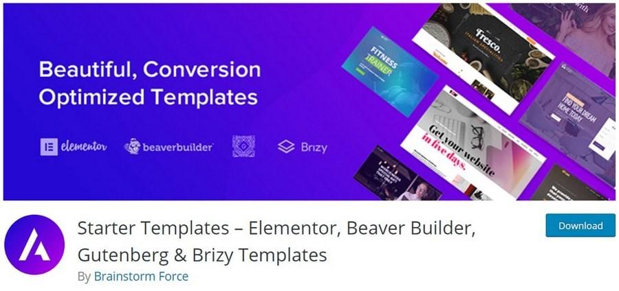 Starter templates WordPress plugin