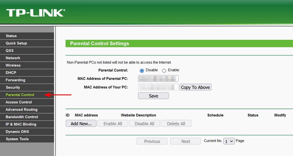 TP Link parental control setting