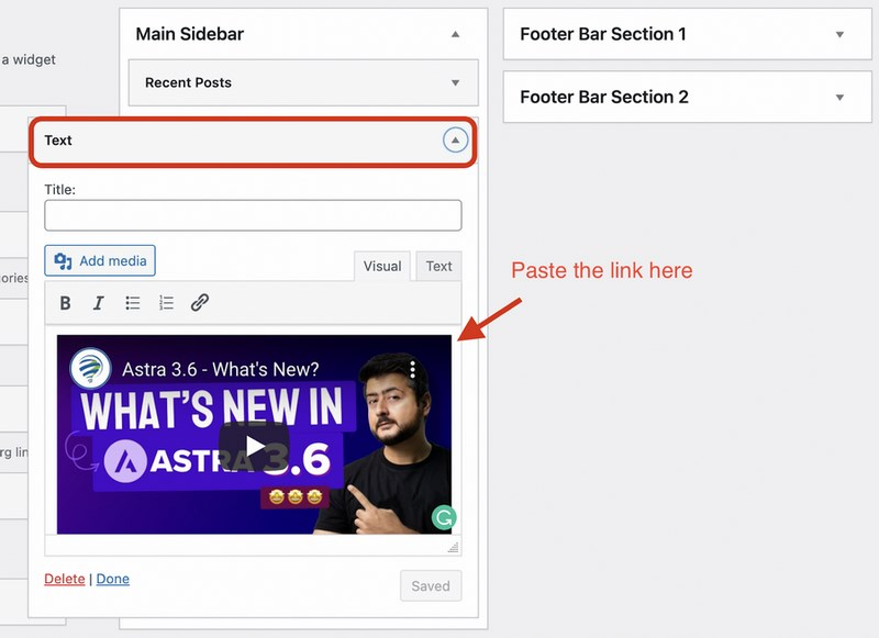Video in Sidebar using text editor