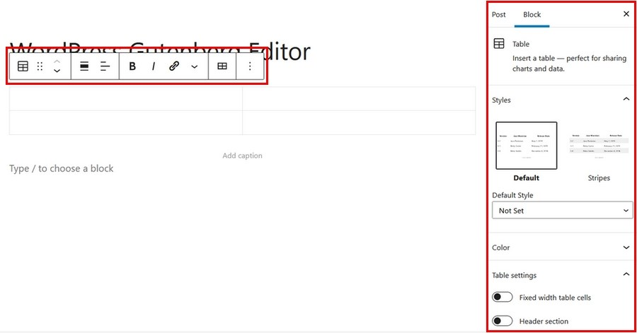 WordPress table settings