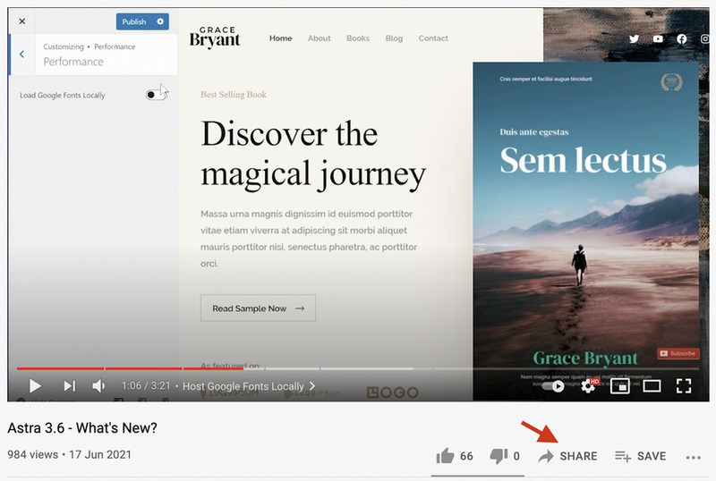YouTube click on share button