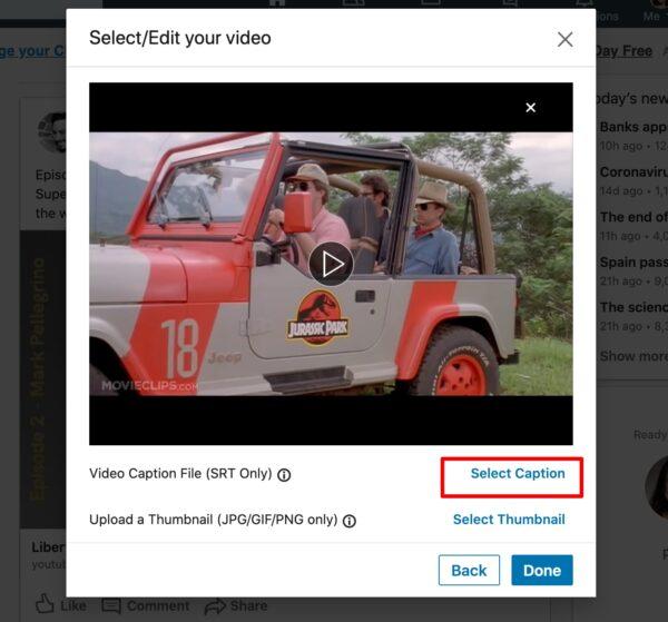 adding captions to LinkedIn video
