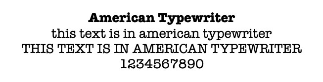 american typewriter font