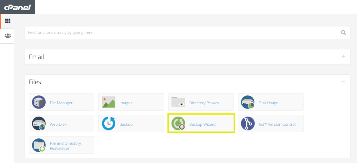 The Backup Wizard tool in cPanel.