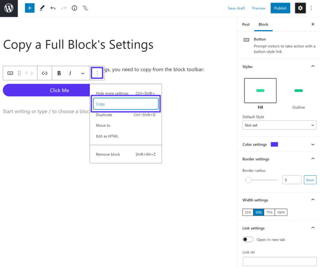 How to copy a block with all of its settings in the Gutenberg WordPress editor