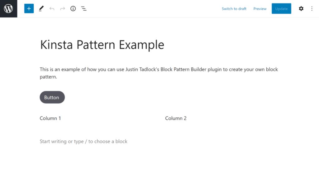 Creating your own custom block pattern