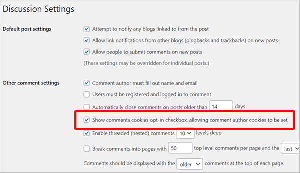 WordPress Discussion Settings - Show comments cookies opt-in checkbox