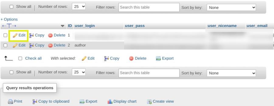 The option to edit a WordPress user via phpMyAdmin.