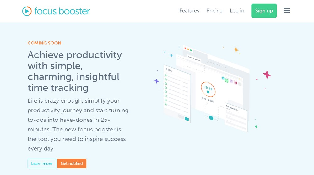 focus booster pomodoro app and time tracker