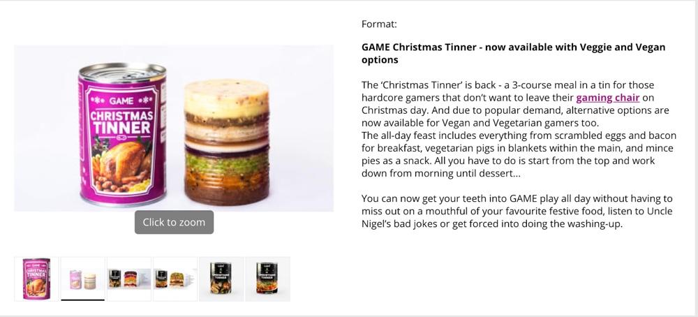 GAME Christmas Tinner Campaign