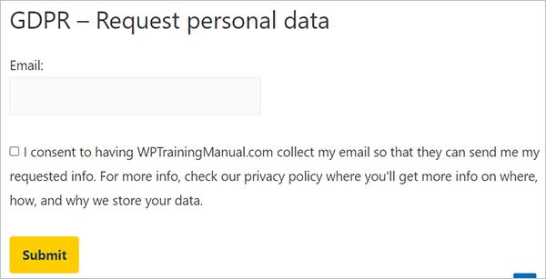 Plugin-generated GDPR personal data request page. Source: WPTrainingManual.com