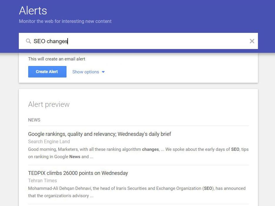 Set up Google Alerts for topics of interest.