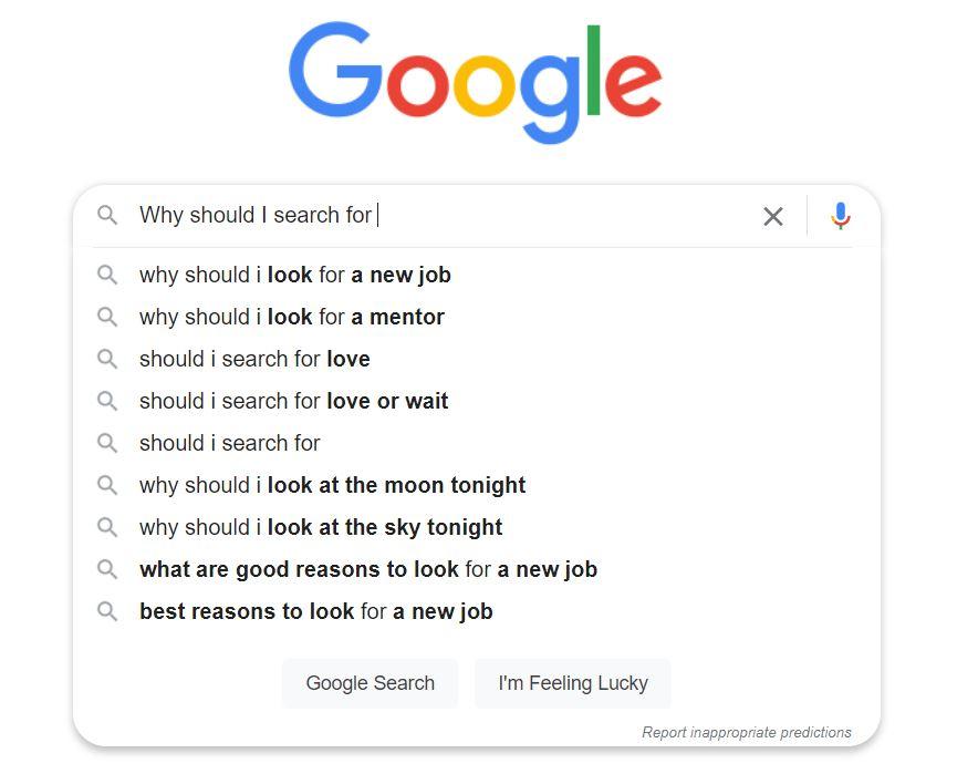 Example of seeking information online via Google search.