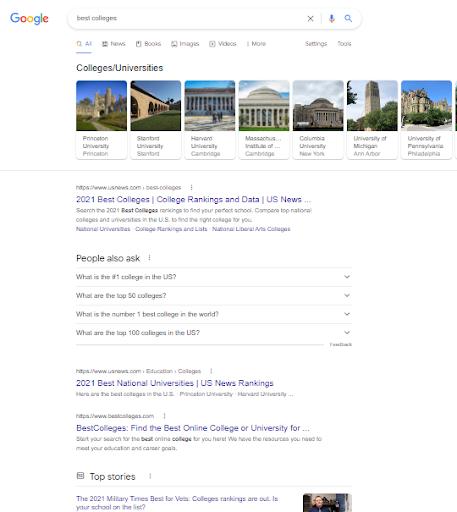 Google SERP for best colleges keywords.