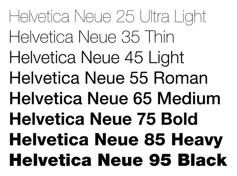 helvetica font varient