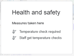 How Google My Business Health and Safety Attributes are displayed.