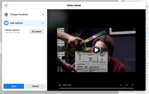 how to directly add captions to Facebook video