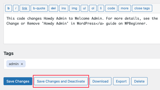 Return to Howdy by Deactivating the Code Snippet