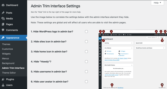 Admin Trim Interface Page