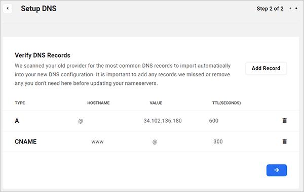 The Hub - Set up DNS screen.