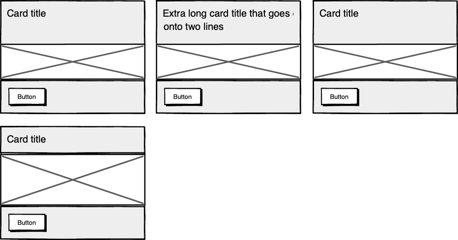 Wireframes showing several boxes with the contents aligned across boxes