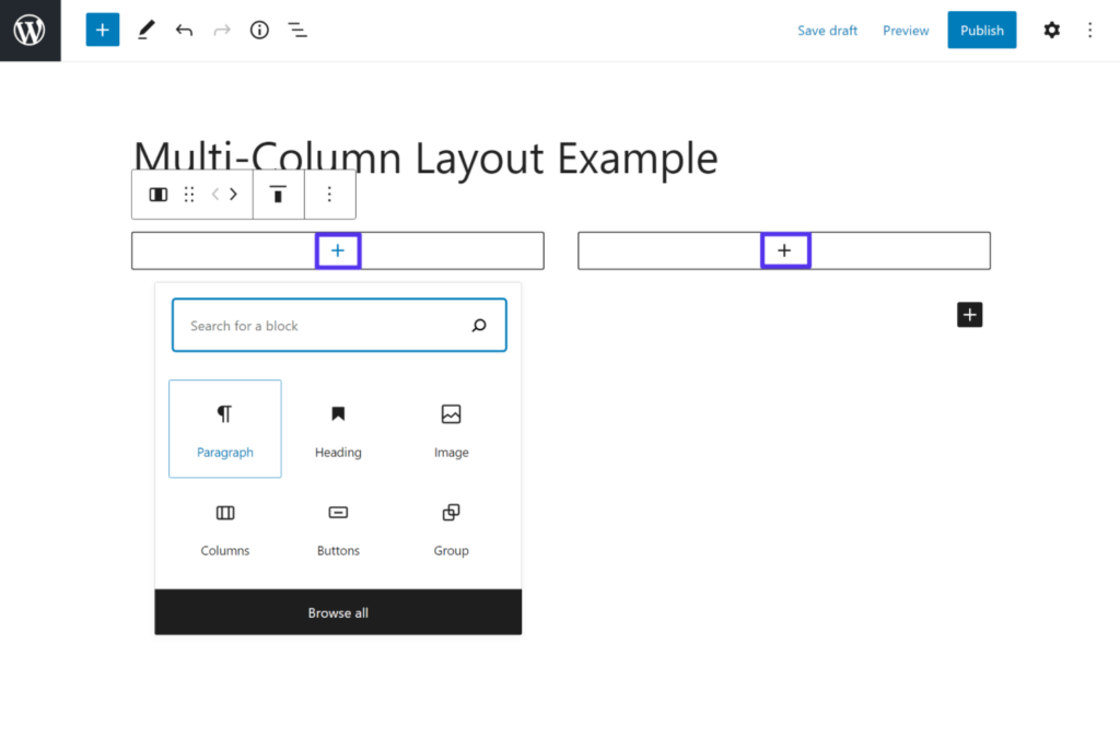 How to add content to the columns