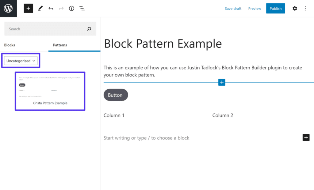 Inserting the custom block pattern that you created