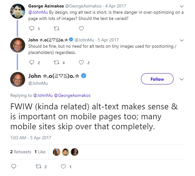 John Mueller discusses alt text.