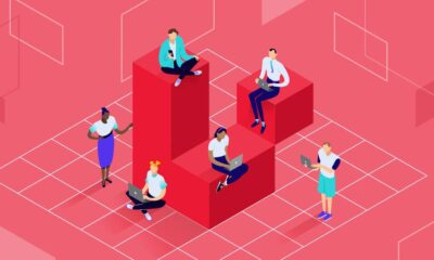 Illustration for Laravel Caching's featured image showing a team working together.