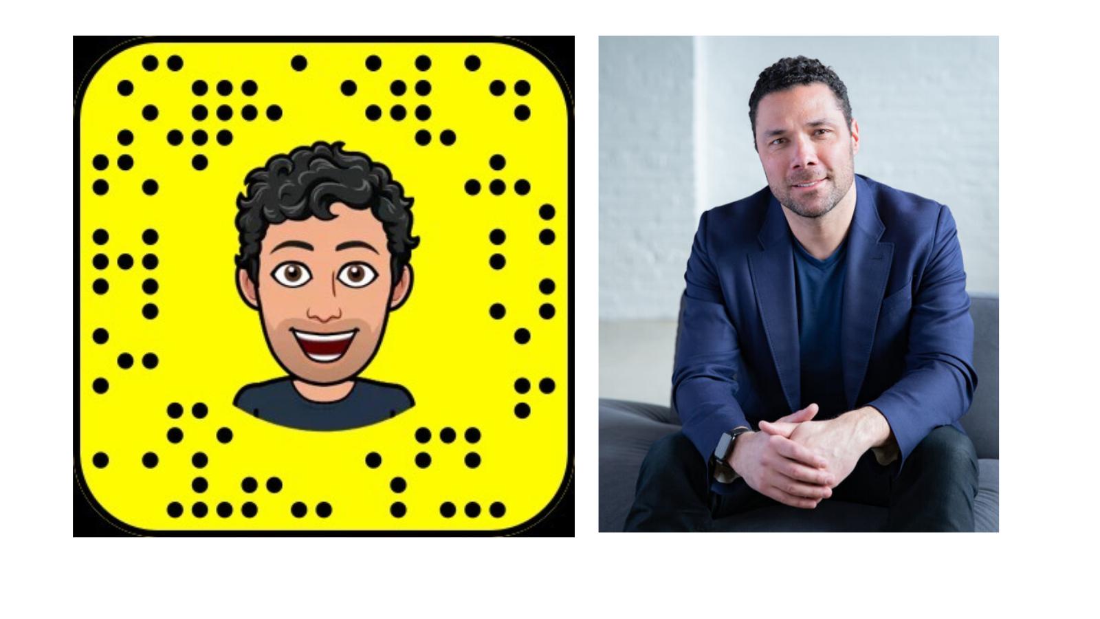 Matt McGowan headshot in real life and his Snapchat version.