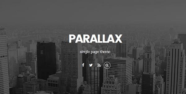 Parallax theme header.