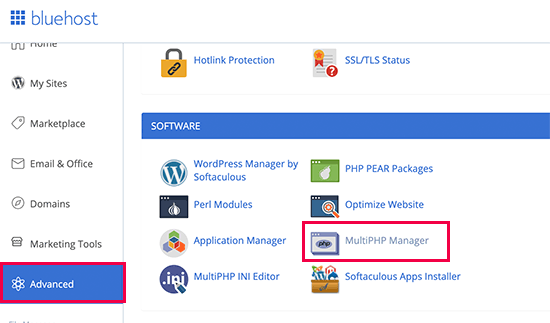 PHP manager Bluehost