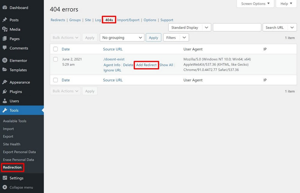 redirection plugin 404 error log