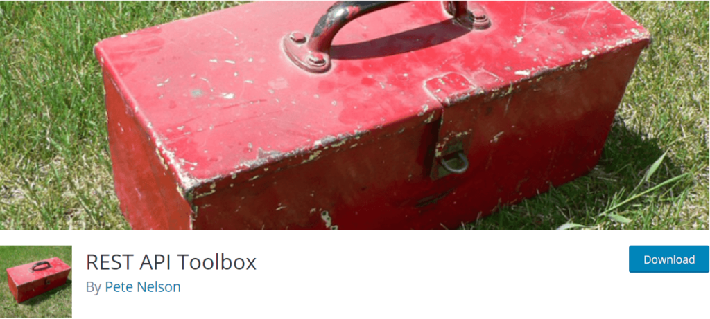A red toolbox on grass and the REST API Toolbox plugin homepage