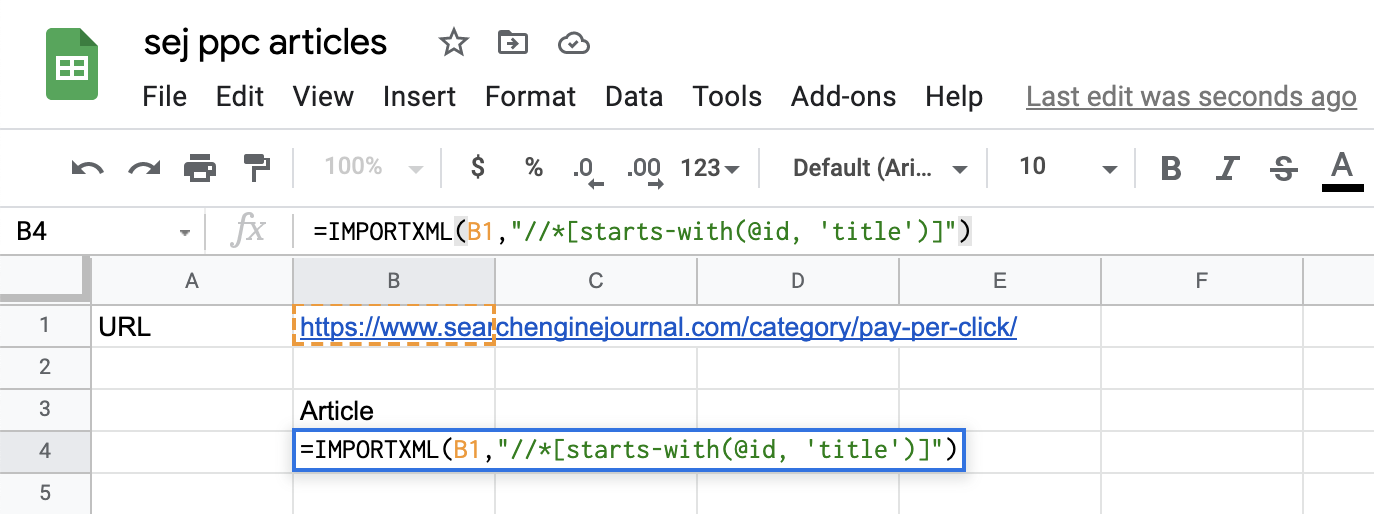 An example of IMPORTXML.