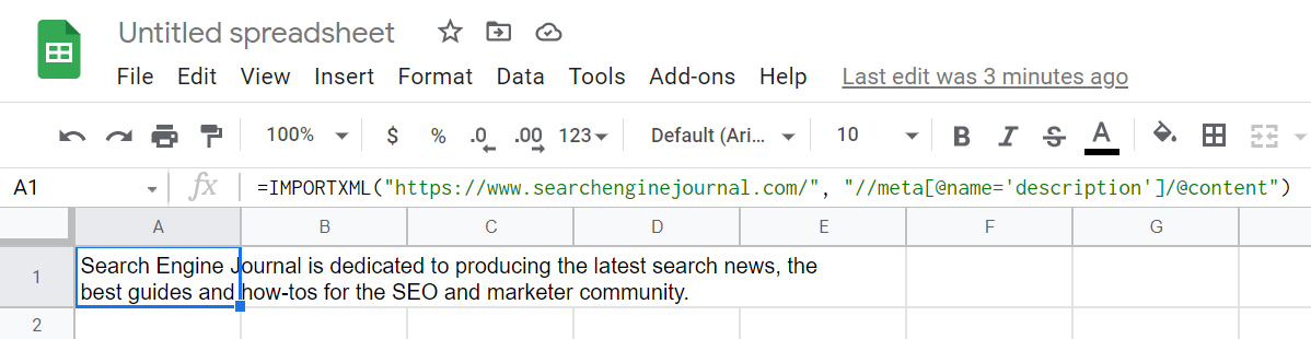 SEJ Home Page Meta Description Pulled with IMPORTXML.