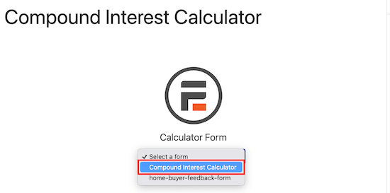Select calculator from drop down