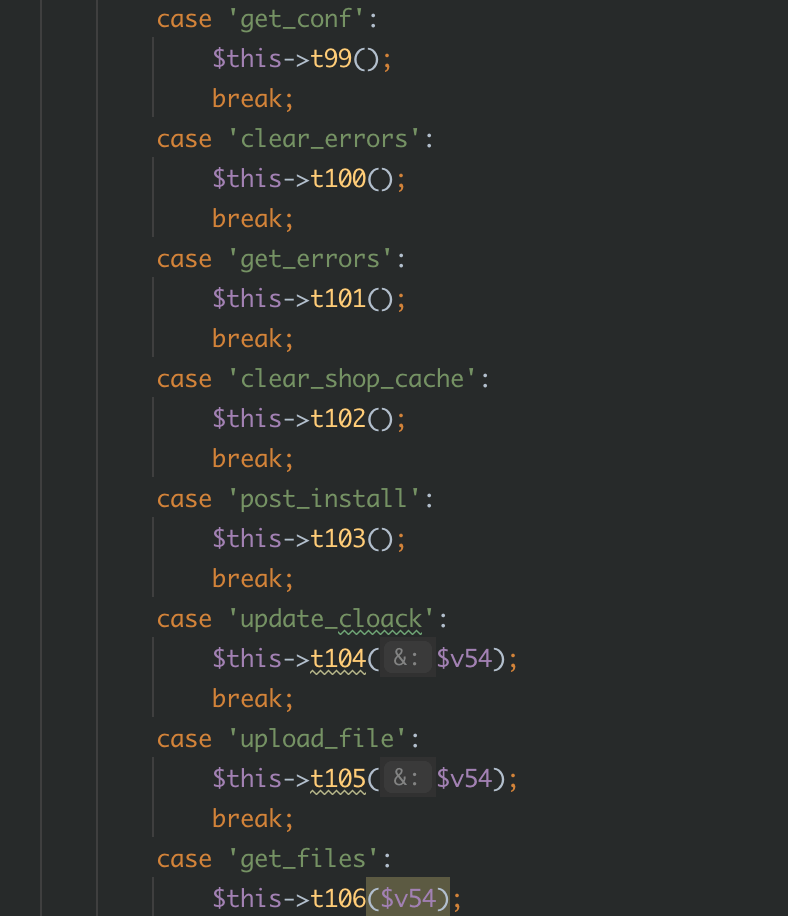 Some capabilities of the deobfuscated webshell